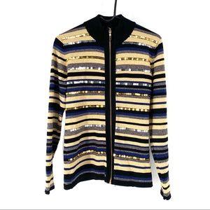 Belldini Women's Striped Sequin Zip Up Sweater L